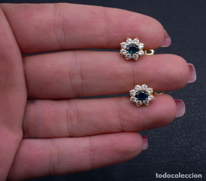 Joyeria: Preciosos pendientes de oro tipo roseta zafiros fino - Foto 2 - 142961542