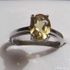 Joyeria - sortija anillo plata 925 y citrino amarillo auténtico - 143218978