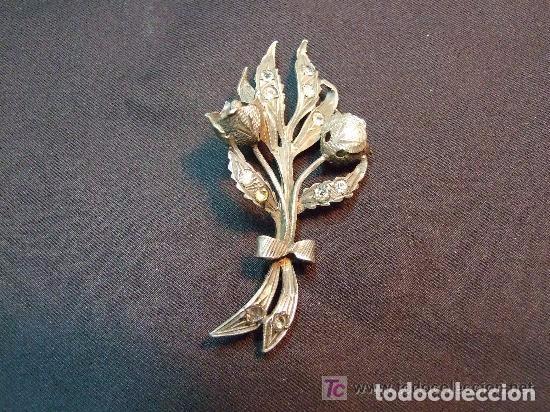 BROCHE AGUJA DE PLATA CON MARQUESITAS (Joyería - Broches Antiguos)