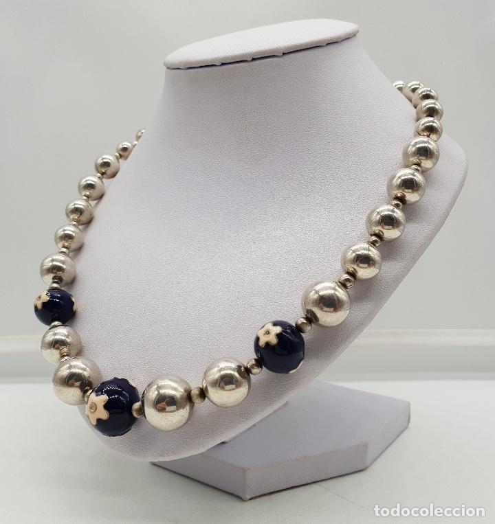 Joyeria: Magnífica gargantilla en cuentas con forma de perlas de plata de ley, esmaltes y circonitas . - Foto 2 - 143524002