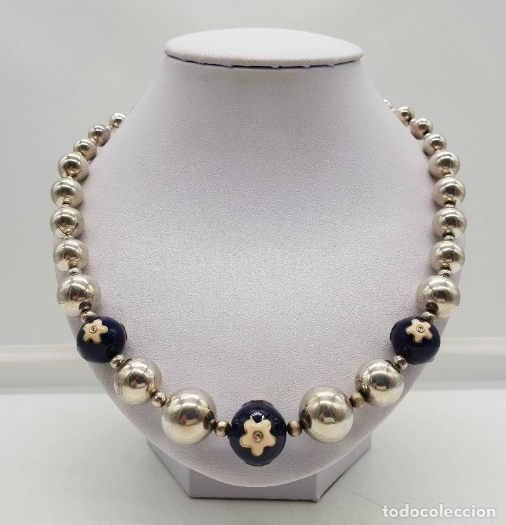 Joyeria: Magnífica gargantilla en cuentas con forma de perlas de plata de ley, esmaltes y circonitas . - Foto 3 - 143524002