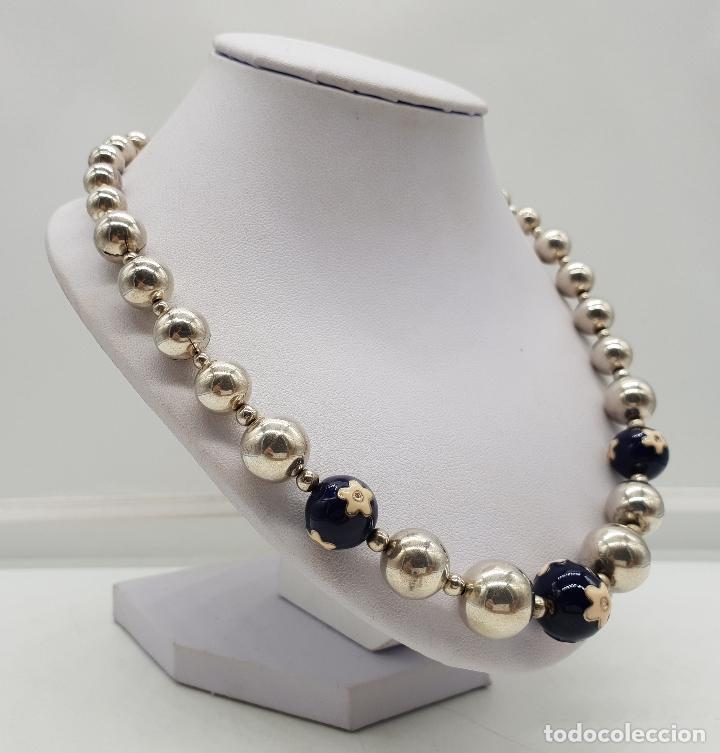 Joyeria: Magnífica gargantilla en cuentas con forma de perlas de plata de ley, esmaltes y circonitas . - Foto 4 - 143524002