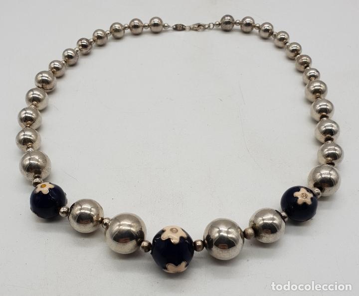 Joyeria: Magnífica gargantilla en cuentas con forma de perlas de plata de ley, esmaltes y circonitas . - Foto 5 - 143524002