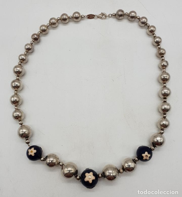 Joyeria: Magnífica gargantilla en cuentas con forma de perlas de plata de ley, esmaltes y circonitas . - Foto 6 - 143524002
