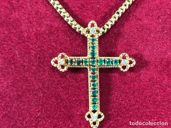 Joyeria: Cruz colgante en Oro 18k, esmeralda y Brillantes - Cadena 14k - - Foto 2 - 117919695