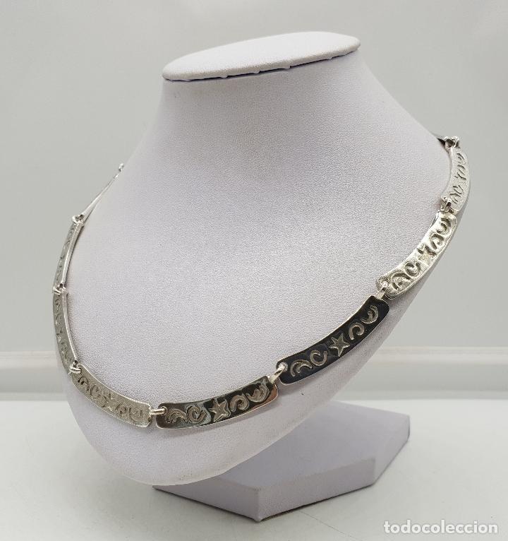 Joyeria: Gargantilla de eslabones de plata de ley contrastada con estrellas y cenefas grabadas . - Foto 2 - 143809034