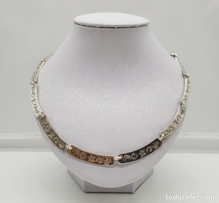 Joyeria: Gargantilla de eslabones de plata de ley contrastada con estrellas y cenefas grabadas . - Foto 3 - 143809034