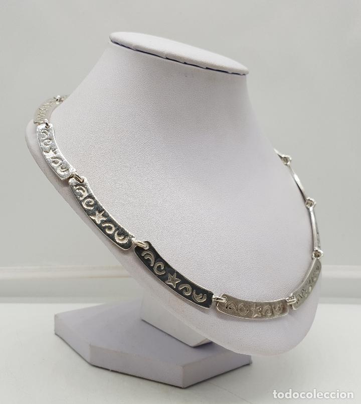 Joyeria: Gargantilla de eslabones de plata de ley contrastada con estrellas y cenefas grabadas . - Foto 4 - 143809034