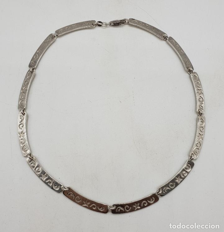 Joyeria: Gargantilla de eslabones de plata de ley contrastada con estrellas y cenefas grabadas . - Foto 6 - 143809034