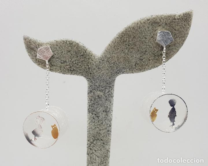 Joyeria: Pendientes de diseño minimalista en plata de ley y oro de 18k, tunel con niños y gatos, hecho a mano - Foto 6 - 145549362