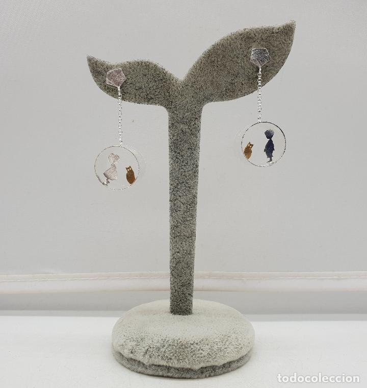 Joyeria: Pendientes de diseño minimalista en plata de ley y oro de 18k, tunel con niños y gatos, hecho a mano - Foto 7 - 145549362