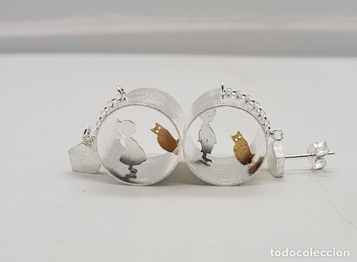 Joyeria: Pendientes de diseño minimalista en plata de ley y oro de 18k, tunel con niños y gatos, hecho a mano - Foto 8 - 145549362