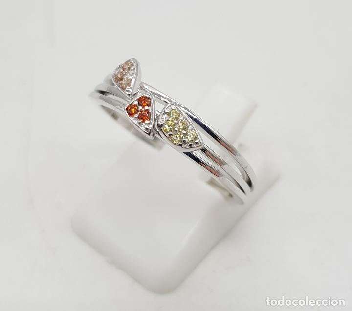 Joyeria: Anillo tres en uno de plata de ley contrastada y pavé de circonitas de colores talla brillante . - Foto 2 - 143873926