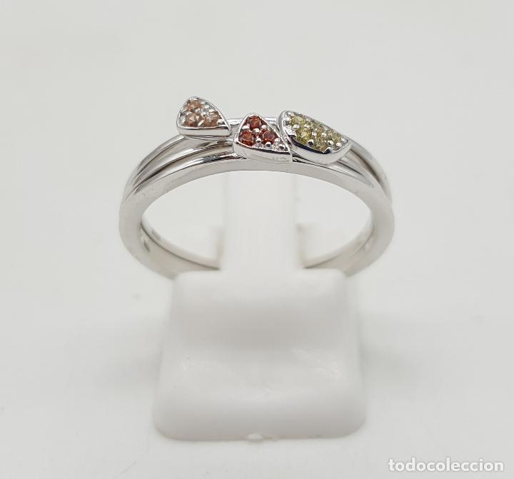 Joyeria: Anillo tres en uno de plata de ley contrastada y pavé de circonitas de colores talla brillante . - Foto 3 - 143873926