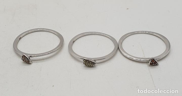 Joyeria: Anillo tres en uno de plata de ley contrastada y pavé de circonitas de colores talla brillante . - Foto 5 - 143873926