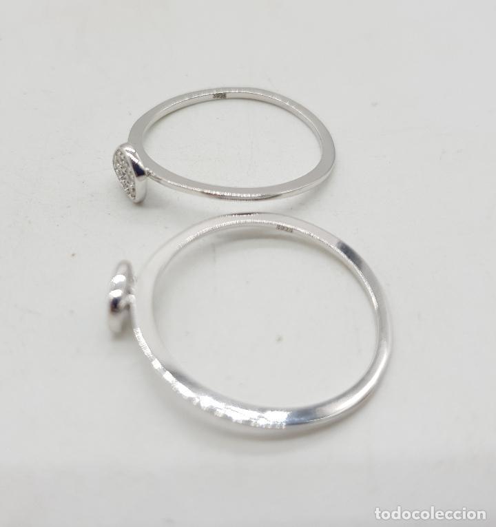 Joyeria: Anillo doble én plata de ley contrastada y pavé de circonitas de colores talla brillante . - Foto 6 - 143881770