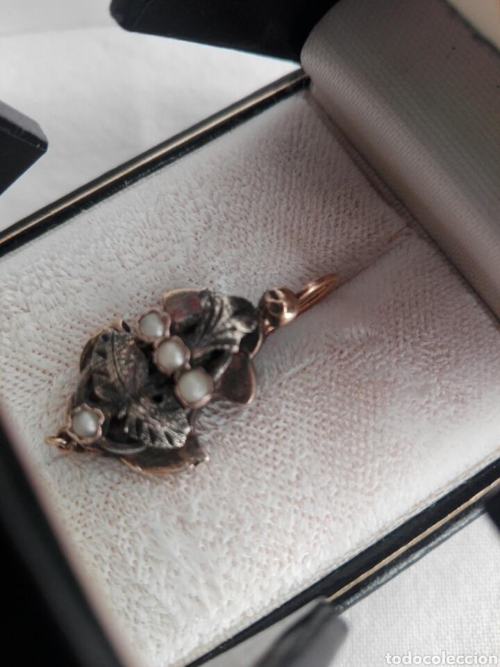 Joyeria: Antiguo pendiente isabelino de perlas,plata y oro bajo - Foto 9 - 144356876