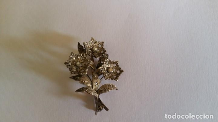 Joyeria: Antiguo broche siglo XX Plata con diamantes cuadrados Art Deco - Foto 2 - 144392966