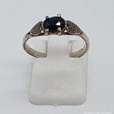 Joyeria - Especial anillo antiguo tipo pedida en plata de ley contrastada y zafiro negro engarzado. - 144400706
