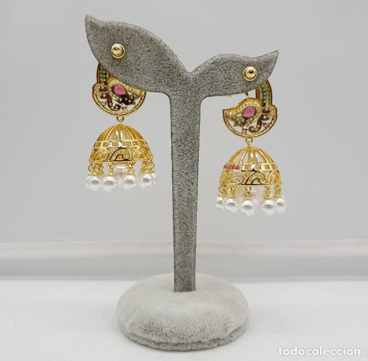 Joyeria: Espectaculares pendientes de lujo chapados en oro de 18k y pave de pedrería, con forma de pavo real - Foto 3 - 144562374