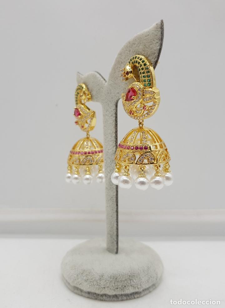 Joyeria: Espectaculares pendientes de lujo chapados en oro de 18k y pave de pedrería, con forma de pavo real - Foto 4 - 144562374