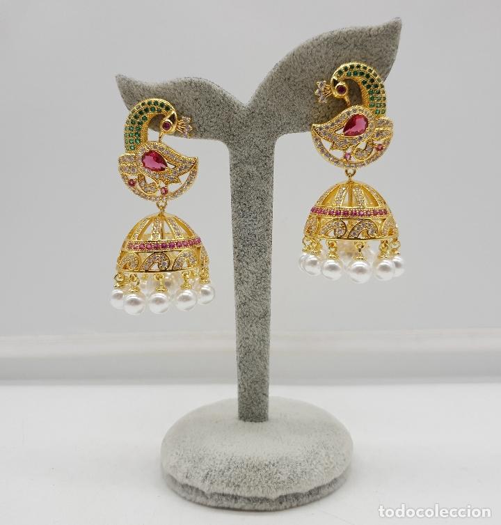 Joyeria: Espectaculares pendientes de lujo chapados en oro de 18k y pave de pedrería, con forma de pavo real - Foto 5 - 144562374