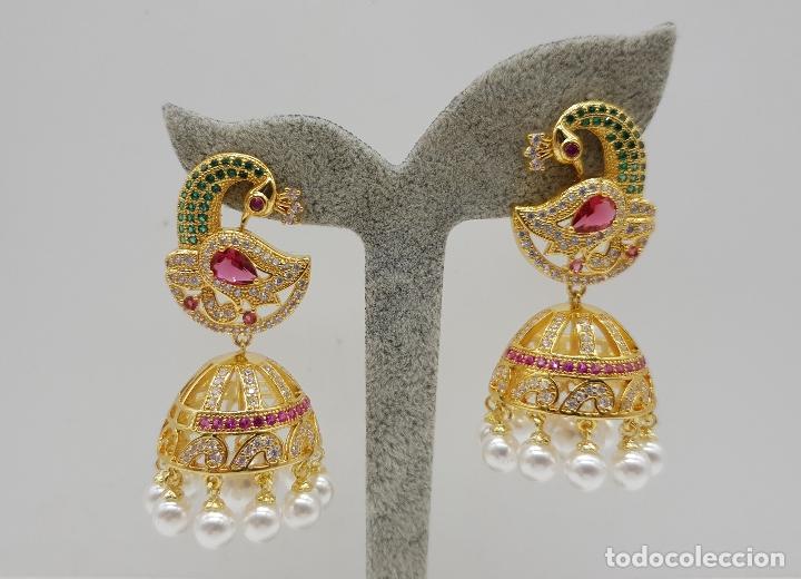 Joyeria: Espectaculares pendientes de lujo chapados en oro de 18k y pave de pedrería, con forma de pavo real - Foto 6 - 144562374