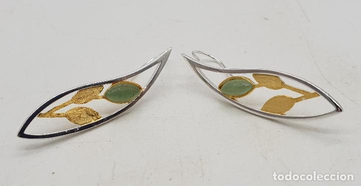 Joyeria: Pendientes de diseño minimalista en plata de ley, oro de 18k y cabujones de jade . - Foto 6 - 144580054