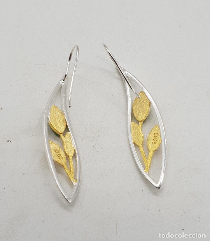 Joyeria: Pendientes de diseño minimalista en plata de ley, oro de 18k y cabujones de jade . - Foto 7 - 144580054
