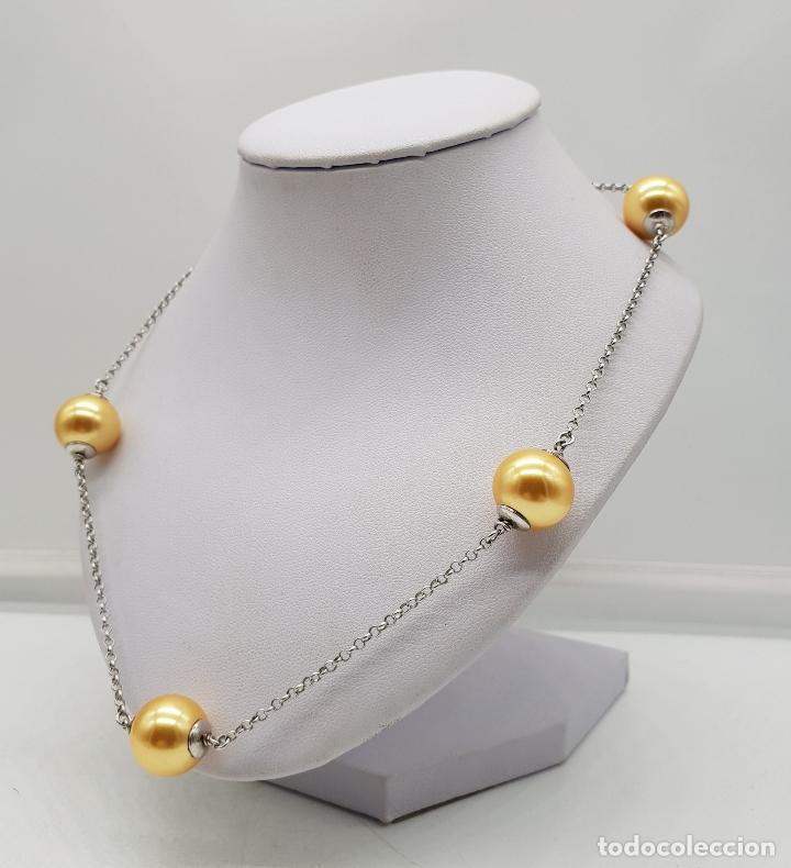 Joyeria: Elegante gargantilla en plata de ley contrastada y perlas en tono champagne dorado . - Foto 2 - 144741734