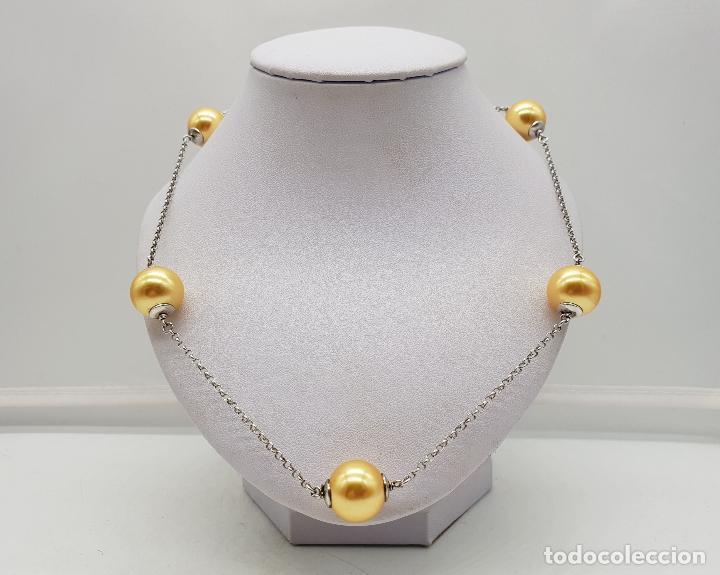 Joyeria: Elegante gargantilla en plata de ley contrastada y perlas en tono champagne dorado . - Foto 3 - 144741734