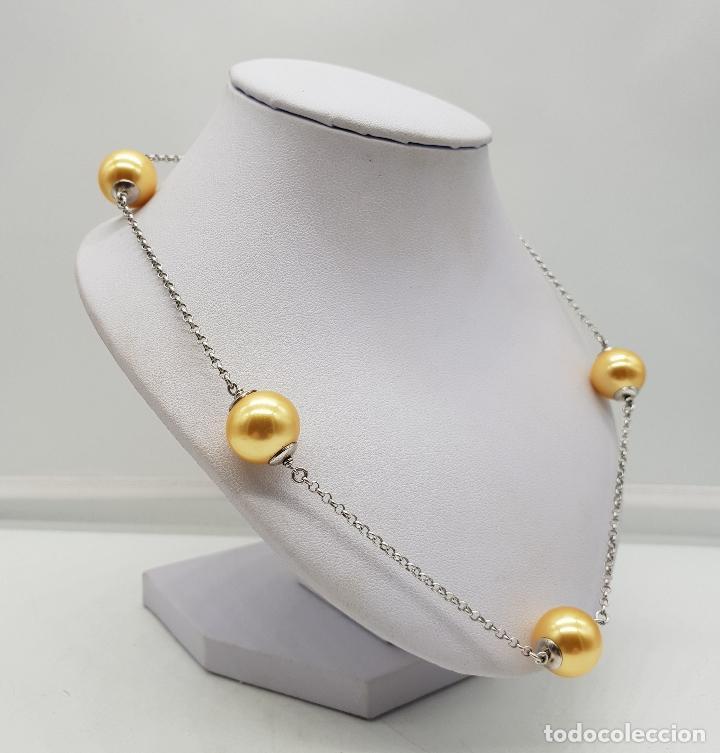 Joyeria: Elegante gargantilla en plata de ley contrastada y perlas en tono champagne dorado . - Foto 4 - 144741734
