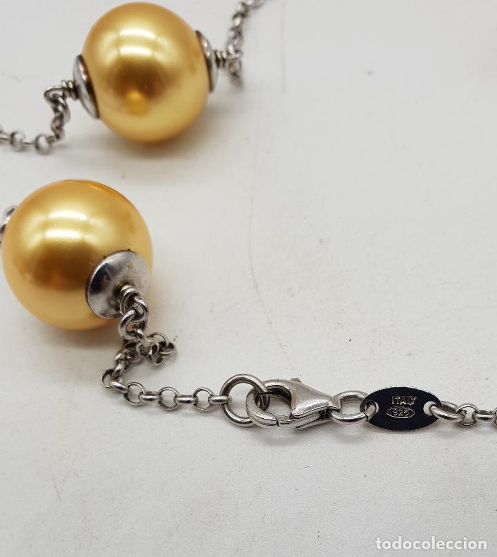 Joyeria: Elegante gargantilla en plata de ley contrastada y perlas en tono champagne dorado . - Foto 5 - 144741734