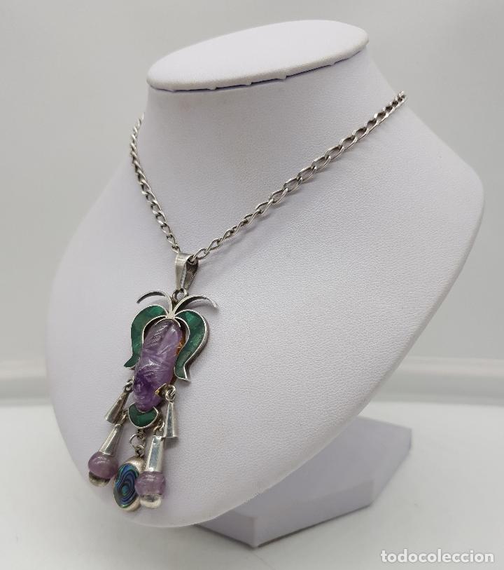 Joyeria: Magnífico collar antiguo en plata de ley con mascara de amatista, malaquita y madre perla . - Foto 2 - 144742174