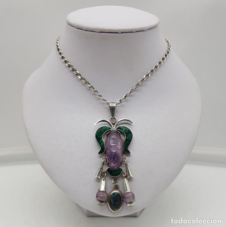 Joyeria: Magnífico collar antiguo en plata de ley con mascara de amatista, malaquita y madre perla . - Foto 3 - 144742174