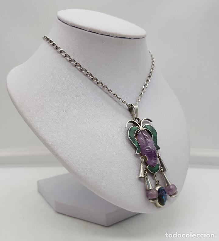 Joyeria: Magnífico collar antiguo en plata de ley con mascara de amatista, malaquita y madre perla . - Foto 4 - 144742174