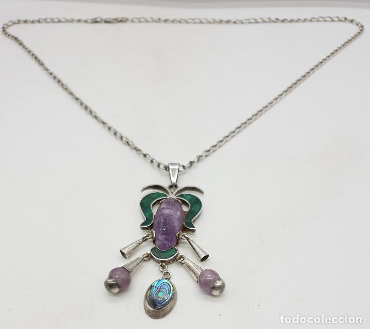 Joyeria: Magnífico collar antiguo en plata de ley con mascara de amatista, malaquita y madre perla . - Foto 5 - 144742174