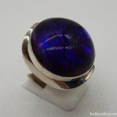 Jewelry - Gran anillo vintage de diseño en plata de ley, fondo de madreperla y cabujón en símil de amatista . - 144768262