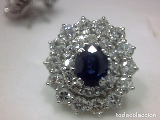 Joyeria: juego de anillo y pendientes oro blanco 18 kl y diamantes - Foto 2 - 144820898