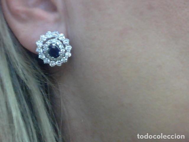 Joyeria: juego de anillo y pendientes oro blanco 18 kl y diamantes - Foto 4 - 144820898