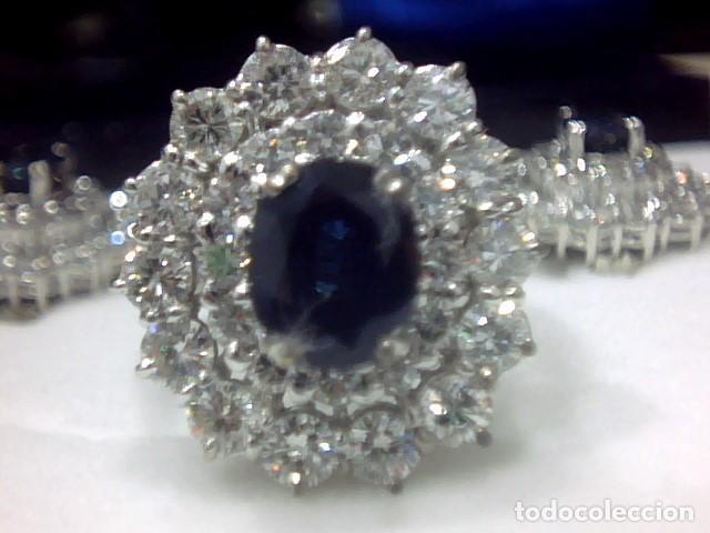 Joyeria: juego de anillo y pendientes oro blanco 18 kl y diamantes - Foto 5 - 144820898
