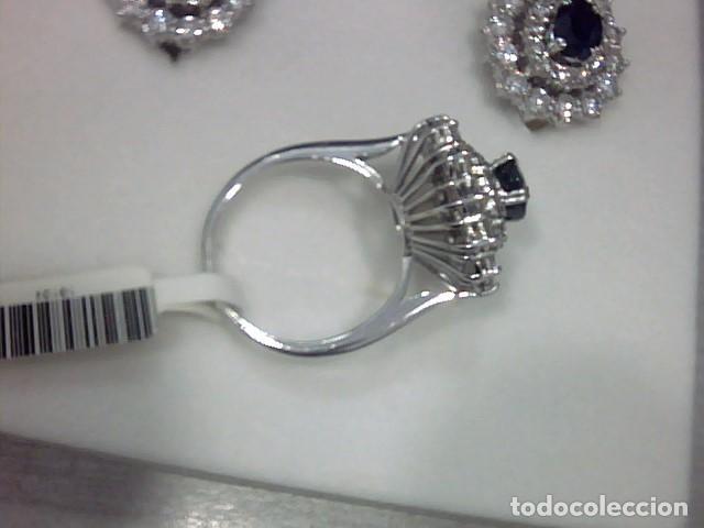 Joyeria: juego de anillo y pendientes oro blanco 18 kl y diamantes - Foto 6 - 144820898