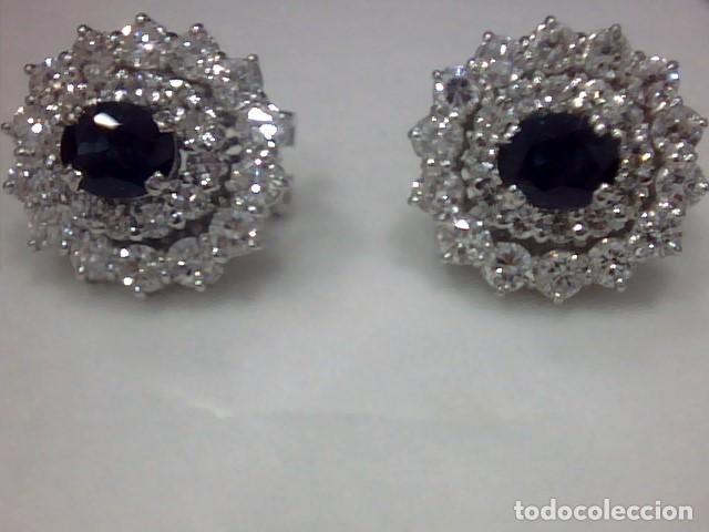 Joyeria: juego de anillo y pendientes oro blanco 18 kl y diamantes - Foto 7 - 144820898