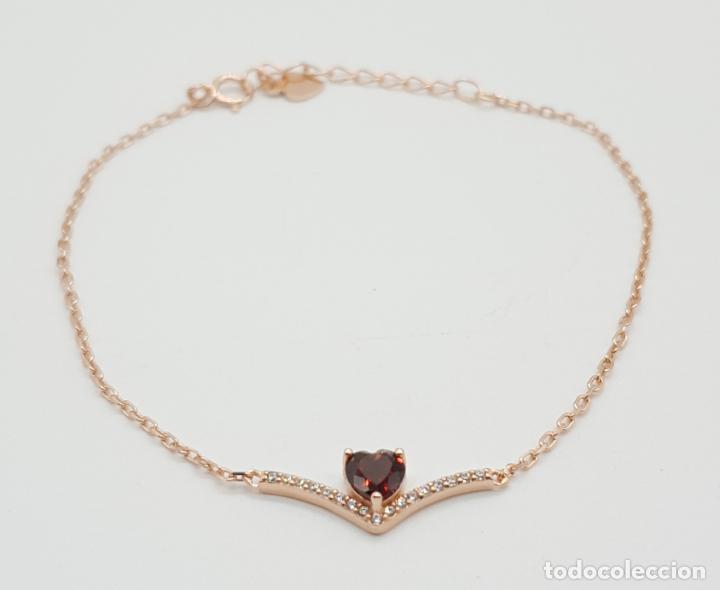Joyeria: Pulsera tipo vintage en plata de ley, oro de 18k, granate talla corazón y circonitas talla brillante - Foto 2 - 145100866