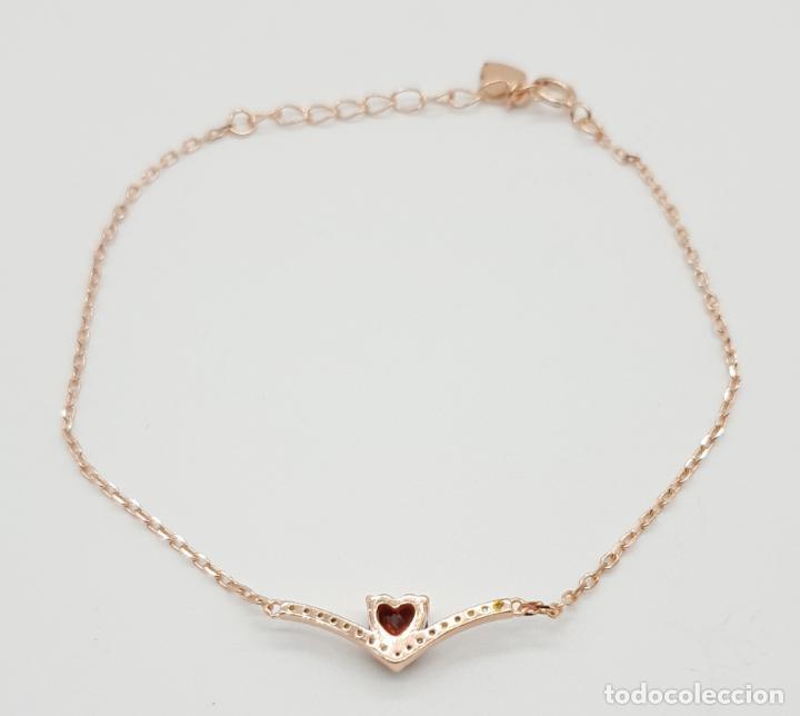 Joyeria: Pulsera tipo vintage en plata de ley, oro de 18k, granate talla corazón y circonitas talla brillante - Foto 5 - 145100866