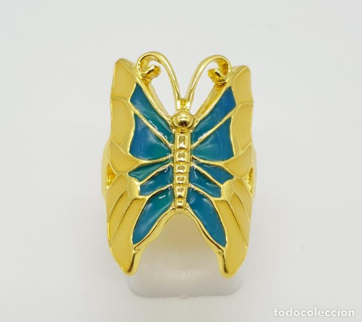 Joyeria: Bonito anillo con forma de mariposa chapado en oro de 18k y esmaltes al fuego luminiscentes . - Foto 2 - 145101986