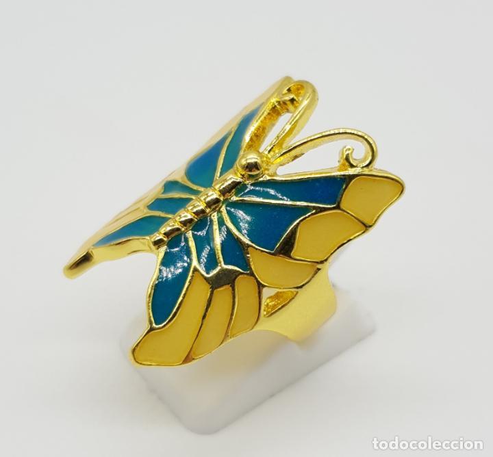 Joyeria: Bonito anillo con forma de mariposa chapado en oro de 18k y esmaltes al fuego luminiscentes . - Foto 3 - 145101986