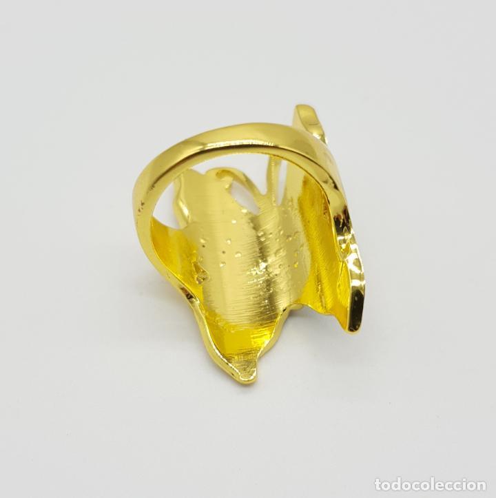 Joyeria: Bonito anillo con forma de mariposa chapado en oro de 18k y esmaltes al fuego luminiscentes . - Foto 5 - 145101986