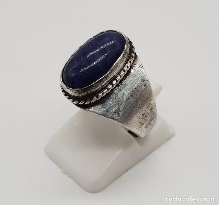 Joyeria: Anillo antiguo en plata de ley con cabujón de lapislázuli autentico incrustado . - Foto 2 - 192697852