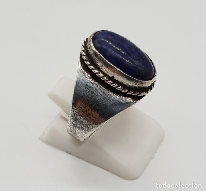 Joyeria: Anillo antiguo en plata de ley con cabujón de lapislázuli autentico incrustado . - Foto 4 - 192697852